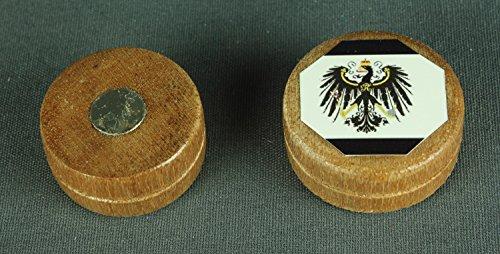 Buddel-Bini Magnet Preussen Adler Flagge 28x12 mm runder Holz Zylinder hell Flaggenmagnet -