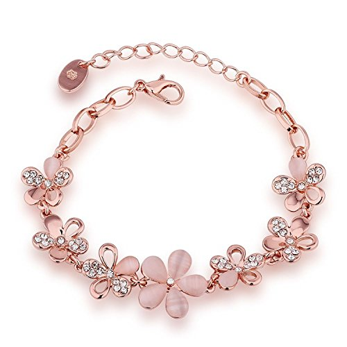 Om Jewells Rose Gold Plated Pink Flowers Link Chain Adjustable Size Bracelet...
