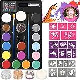 lecou Kinderschminken Set Schminkfarben 14 Farben Schminkset Kinder, 3 Glitzer und 2 Pinsel , Schminkasten Tiermasken Körperfarben für Kinder Halloween Karneval Make-up Gesichtsfarbe Bodypainting