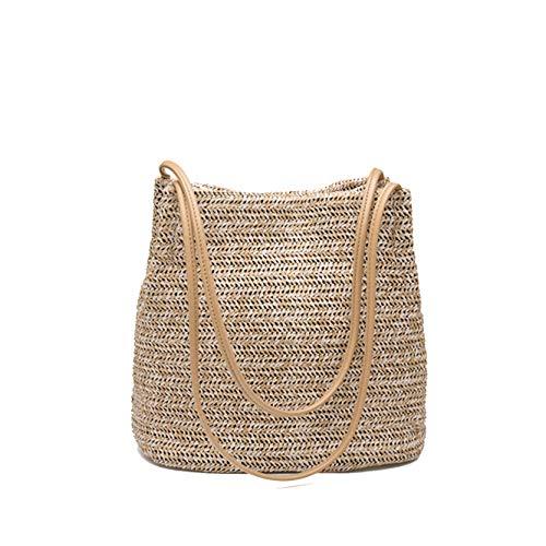 Kawei Damen Einfach Gehäkelt Frauentasche Mode Plaid Damenmode Handtaschen Großraum Shopper Ledergeldbörse Baumwolle Satchel Bags -