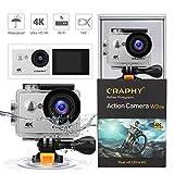 CRAPHY W9SE Silber Action Kamera 4K WiFi Actioncam Ultra HD wasserdicht Sport Kamera 2 Zoll LCD...