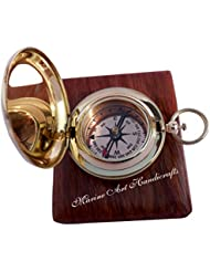Handmade Brass Push Button Direction Compass POCKET COMPASS with Rose Wood Box. C-3191 by Maritime Museum Store