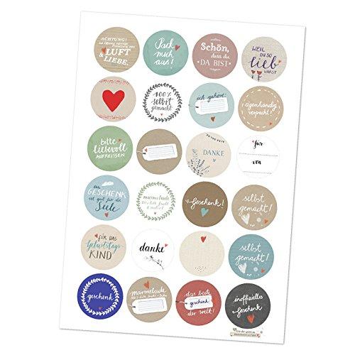 24 gemischte Geschenkaufkleber, unser Sticker Best-of! MATTE Papieraufkleber rund 40mm, schöne Etiketten um deine Geschenke zu verpacken