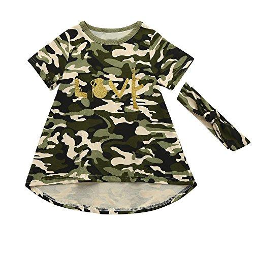 YWLINK MäDchen Camouflage Woodland Kleiden Kids Dress + Stirnband Süß Bequem Sommerkleid Casual Set(Tarnen,Größe: ()