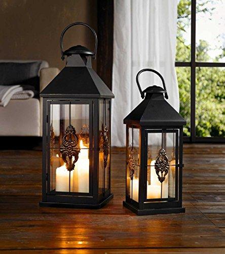 SIDCO ® Laterne Ornament 63 cm Windlicht Kerzenhalter Metalllaterne Gartenlaterne