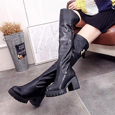 Rtry Femmes Chaussures Pu Automne Hiver Confort Bottes Bas Talon Genou Bottes Pour Casual Noir Noir Us8 / Eu39 / Uk6 / Cn39 Us6.5-7 / Eu37 / Uk4.5-5 / Cn37