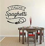 Lvabc Italienische Küche Wandaufkleber Spaghetti Vinyl Wand Fenster Aufkleber Restaurant Pasta Design Wall Poster Küche Essen Decor 42X36 Cm