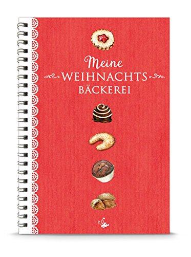 """KREATIV DIY Weihnachtsplätzchen BACKBUCH - """"Meine Weihnachtsbäckerei"""" in ROT • Rezeptbuch zum Selbstbeschreiben • liniert, DIN A5, Spiralgebunden • MIT INHALTSVERZEICHNIS & SEITENNUMMERIERUNG"""