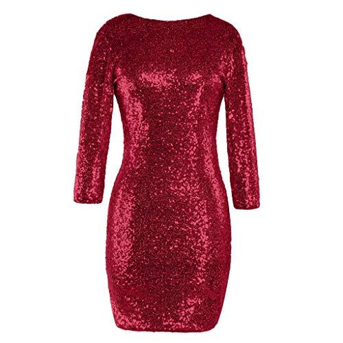 Luckycat Frauen Sparkle Glitzy Glam Sequin Langarm Flapper -