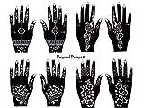 Henna Tattoo Schablonen 8 Stück Set zur einmaligen Verwendung für Hände auch für Glitter Tattoo und Air Brush Tattoo geeignet Set Banya