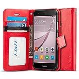 Huawei Nova Hülle, J&D [Handytasche mit Standfuß] [Slim Fit] Robust Stoßfest Aufklappbar Tasche Hülle für Huawei Nova - Rot