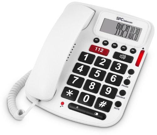 SPC 3293 - Teléfono fijo digital especial para mayores (teclas y pantalla grandes) color blanco