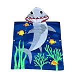 Ymwave Kids Hooded Beach Poncho Towel Children Bath Towel Robe Cute Cartoon Pattern for Boys Girls 100% Cotton