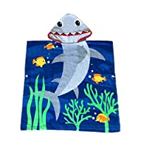 70 x 60 cm, Shark YunNasi 100/% Cotton Childrens Beach Bath Towel with Quick Drying Hat for Swimming Travel Boys or Girls 3-10 Years