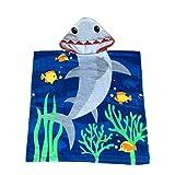Ymwave Kapuzentuch Kinder 100% Baumwolle Bade-Poncho Badetuch Handtuch mit Kapuze für Jungen und Mädchen Kapuzenhandtuch Kids Cartoon Kapuzen Bademantel, Haifisch, 60x60cm