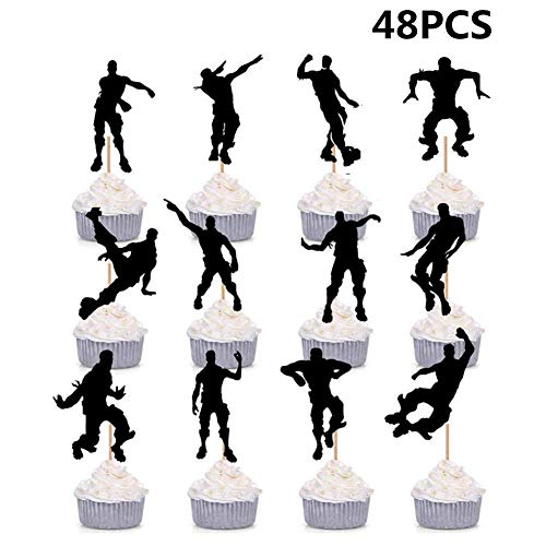 HASAKA 48 Pack Dance Floss Cupcake Toppers para ni?os Fiesta de Cumplea?os Baby Shower Cake Decoration
