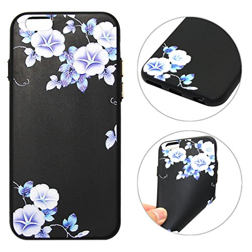 iPhone 6 Cover, TPU Custodia per iPhone 6S, Moon mood® Morbido TPU Protettivo Custodia Posteriore Caso per Apple iPhone 6 Cover Case Silicone Soft TPU Bumper Black BackCover Skin Shell Ultra Sottile 3 Fiore 01