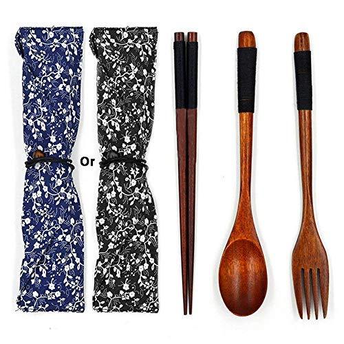 Holz Besteck Set Vintage Stil, praktische Geschirr Besteck für Küche Zuhause Restaurant, Stäbchen Gabel Löffel 3 Stücke Vision-splitter