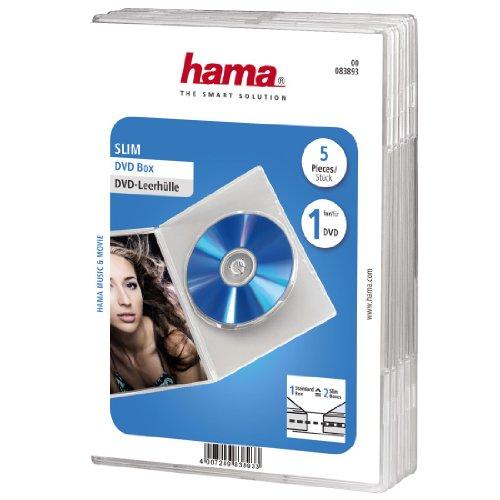 Hama DVD-Hülle Slim (auch passend für CDs und Blu-rays, extra schmal, mit Folie zum Einstecken des Covers) 5er-Pack, transparent