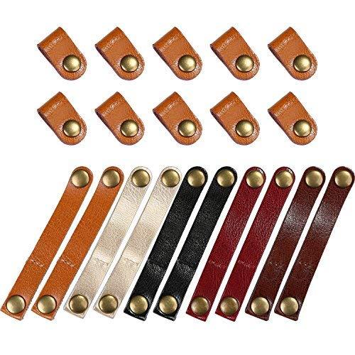 Bememo 20 Stücke Leder Kabelbinder Kabel Organizer Kabel Management Kopfhörer Wrap Winder für USB Kabel Kopfhörer Draht, 2 Größen -