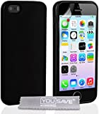 Yousave Accessories Silicone Gel Glossy Case for iPhone 5/5S - Black
