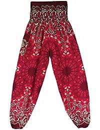ff3d550f90e Moonuy Femme Pantalon Bouffant Large Bande Stretch a la Taille Sarouel  Pantalon Floral Imprimé Taille Haute
