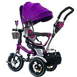 4-in-1 Kinder Dreirad Pfote Patrol, hohe Qualität Trolley Fahrrad Kinder Push Trikes für Baby 3 Rad Fahrrad mit Anti-UV Markise (größe : Purple)