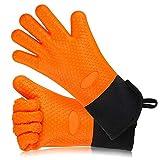 SKJIND Silikon Kochen Handschuhe hitzebeständig Ofenhandschuhe Set von 2, BBQ Grillen Handschuhe für Kochen Outdoor Küche, extra lang, gesteppt, Ingwer Grip, wasserdicht