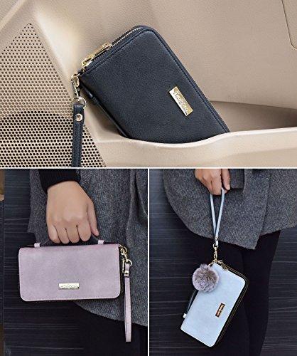 5519708504 tuokener Portafoglio da Donna Grande Pelle Portafogli Donna Grandi RFID  Portamonete con Cerniera Cinturino da polso Zip Wallet