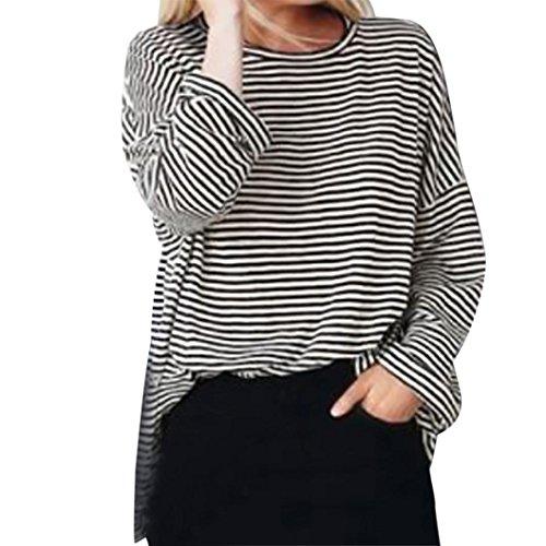 Plus size damen tops VENMO Damen Lose Asymmetrisch Jumper Sweatshirt Pullover Bluse Oberteile Oversize Tops Damen Bluse Loose Pullover Langarm O-Neck Striped Fashion Shirt Tops (XXXXL, Black) (Top Plus T-shirt Tank Size)