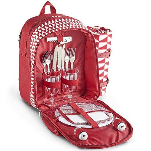 VonShef Geo Picknick-Rucksack rot mit Decke für 2 Personen