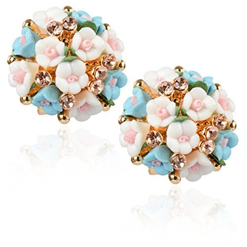 Shining Diva Fashion White and Blue Floral Gold Plated Stud Earrings for...