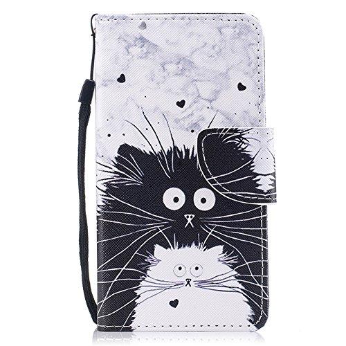 Preisvergleich Produktbild Hülle für iPhone 5, iPhone 5S Flip Case, FNBK Leder Hülle Schutzhülle Magnet Tasche Brieftasche Wallet Klapphülle Stand Magnetverschluss HandyHülle für Apple iPhone 5 / 5S / SE, Schwarz Weiß Katze