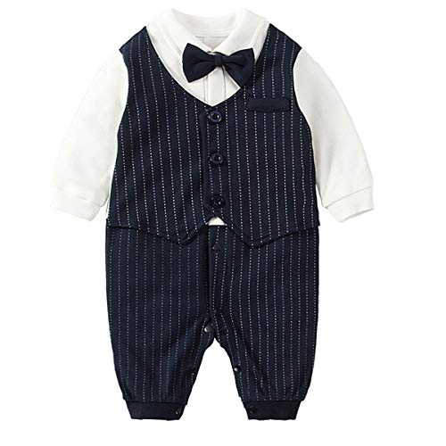 Fairy Baby Baby Outfits Langarm Strampler Jungen Smoking Baby Baumwolle Gentleman Outfit Bowknot Weihnachts/Taufstrampler Kleidung, 59(0-3 Monate), Navy Blau ()