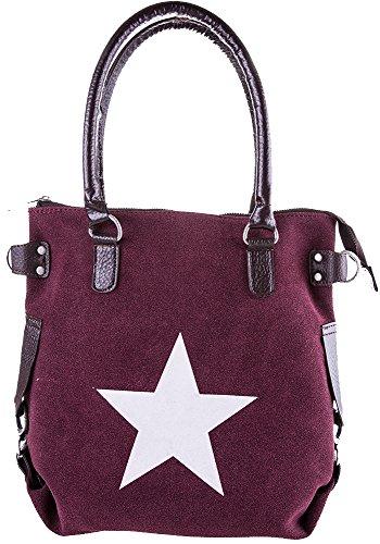 Bags4Less Borsa Messenger, Velours Aubergine (Viola) - Stern-Mini_4