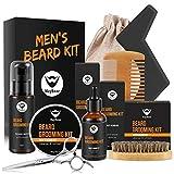 MayBeau Bartpflege Set für Männer Bart Styling 9 Teiliges Bart Reinigung Kit mit Bartshampoo Bartwachs(60g) Bartöl Bartschablonen usw. Geschenkset für Bartpflege Anfänger und Fortgeschrittene