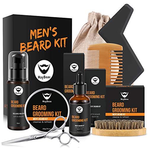 MayBeau Bartpflege Set für Männer Bart Styling Reinigung Kit mit Bartshampoo Bartwachs Bartöl Bartschablonen usw. Bartpflegeset als Geschenkset für Bartpflege Anfänger und Fortgeschrittene (9 Teilige)