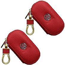 Twin Pack 2x lujo VW Volkswagen rojo funda llavero Fob remoto de piel funda de transporte para VW Volkswagen @ NBS