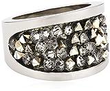 S. Oliver Damen-Ring Edelstahl Kristall schwarz Gr. 54 (17.2) - 440387
