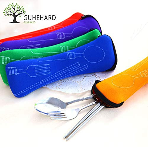 able Stainless Steel Tableware Camping Bag Picnic Juegos De Vajillas Lancheira 3pcs/Set ()