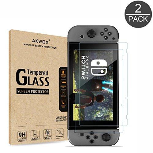 [2 Unidades] Protector de Pantalla para Nintendo Switch 2017 Akwox [9H Dureza] Cristal Vidrio Templado para Nintendo Switch Cristal Templado 51bESagyMbL