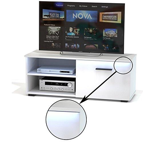 CARO-Möbel TV Lowboard Bank Fernsehtisch Malibu in Weiß Hochglanz mit LED Beleuchtung 102 cm Breit, 1 Klappe