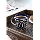 Blue Handpainted Mughal Art Ceramic Tea Cups/Coffee Mugs - Set Of 6