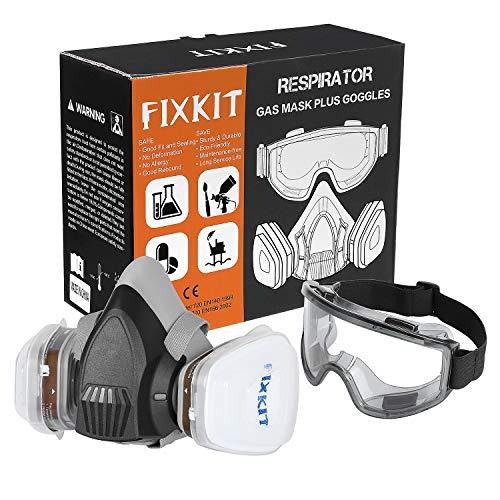 FIXKIT Atemschutzmaske A1P3 plus Schutzbrille mit austauschbaren Filtern gegen Chemikalien und Staub für Sprühen und Handmalen, Schweißen, Schleifen, Polieren usw