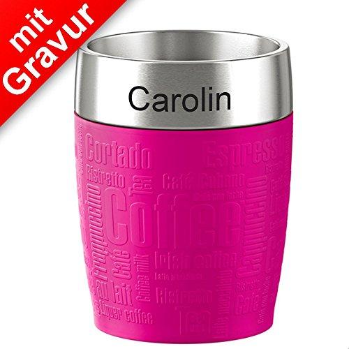 Sterngraf emsa Isolierbecher TRAVEL Cup Himbeere pink 0,20 Liter MIT Gravur (z.B. Namen)...