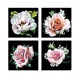 yeshi 4Rose Blume Deko Bild Wohnzimmer Schlafzimmer Wand Art Decor 40x40cm