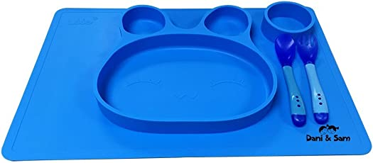 VISMIINTREND Bunny Silicone Non Slip Feeding Mat for Boys and Girls (Blue)