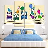 Meyardecor Kunst HD Gedruckt Cartoon Tier Eule Leinwand Malerei Wandkunst Wohnkultur Für Baby Kinder Kinderzimmer 30x60 cm x 2 30x80 cm x 2 Kein Rahmen