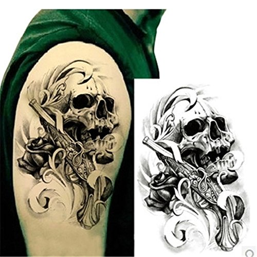 soxid (TM) 1pc 3D Stecker, Gun Skull Wasserdicht Body Art Tattoo Sticker für Ärmel Arm temporäre Tattoos für Mann Körper Tatoo Aufkleber auf Körper (Gun Tattoo Aufkleber)