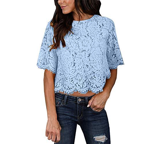Lace Top Damen Sommer Tank Tops,Blumen T-Shirt Mädchen, Frauen Beiläufige Kurze HüLse O Ansatz Druckbluse, Frauen Sexy Hemd 2019